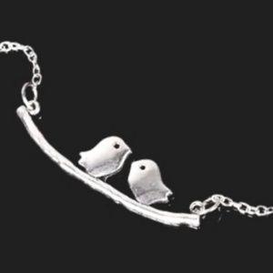 silver charm love birds chain bracelet
